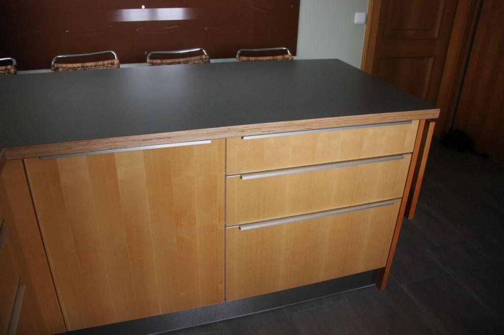 k che ahorn kirschbaum hpl arbeitsplatte grau edelstahl. Black Bedroom Furniture Sets. Home Design Ideas